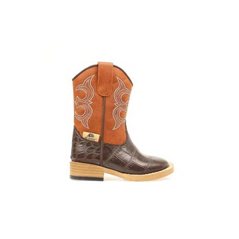 DBL Barrel Bronc Gator Zip Western Boot - Boys, Rust/Brown