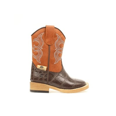 DBL Barrel Bronc Gator Western Boot - Toddler Boys, Rust/Brown