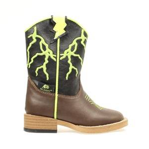 DBL Barrel Kids Ace Lightening Bolt Zip Western Boot - Boys - Brown