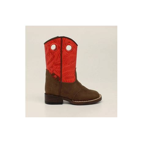 DBL Barrel Kids Sam Zip Western Boot - Boys, Red/Brown