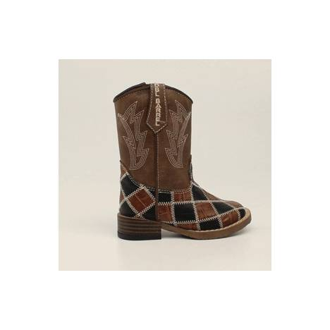 DBL Barrel Andy Patchwork Western Zip Boot - Boys, Brown/Black