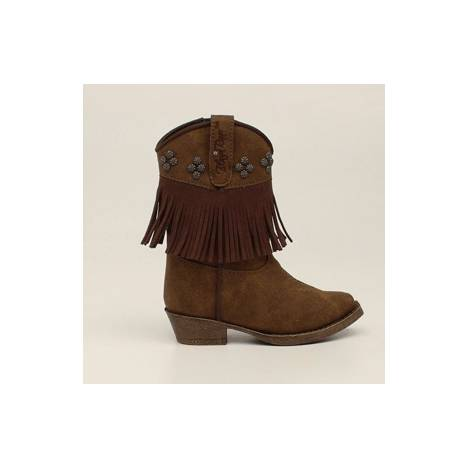 Blazin Roxx Annabelle Fringed Zip Snip Toe Western Boot - Girls, Brown