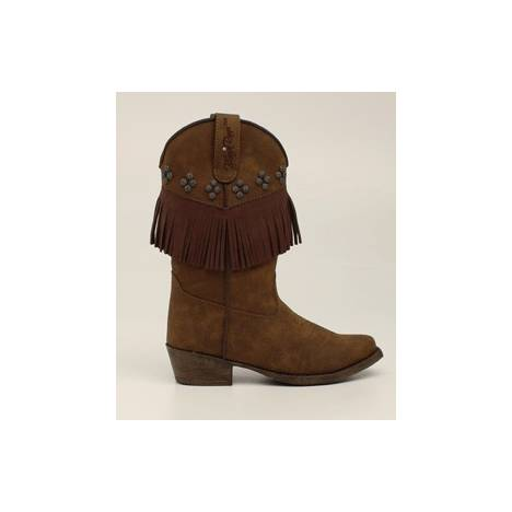 Blazin Roxx Annabelle Fringed Snip Toe Western Boot - Girls, Brown