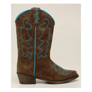 Blazin Roxx Caroline Snip Toe Western Boot - Youth Girls, Brown