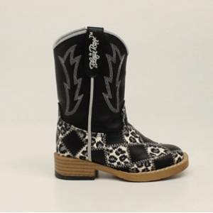 Blazin Roxx Miley Patchwork Zip Square Toe Western Boot - Girls, Black