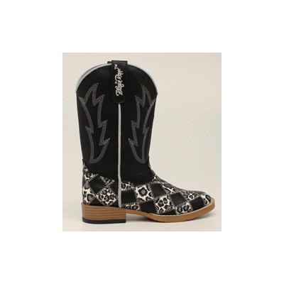Blazin Roxx Miley Patchwork Square Toe Western Boot - Youth Girls, Black