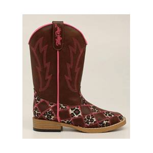 Blazin Roxx Miley Patchwork Square Toe Western Boot - Youth Girls, Brown