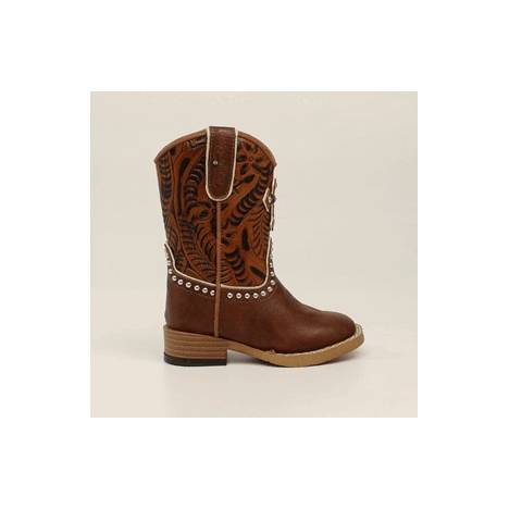 Blazin Roxx Cross Square Toe Western Boot - Toddler Girls, Brown