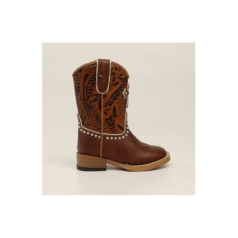 Blazin Roxx Cross Square Toe Zip Western Boot - Girls, Brown