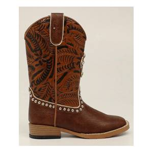 Blazin Roxx Cross Square Toe Western Boot - Youth Girls, Brown