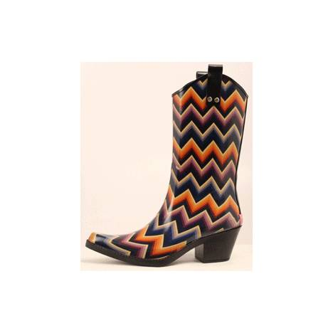 Blazin Roxx Kale Chevron Snip Toe Rain Boot - Ladies, Black/Multi