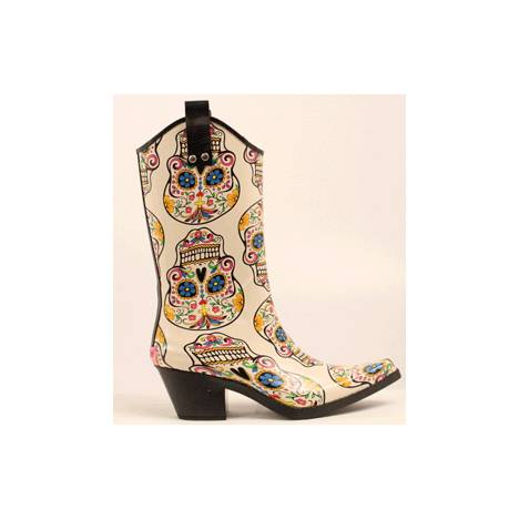 Blazin Roxx Roxy Sugar Skull Snip Toe Rain Boot - Ladies, Cream/Multi