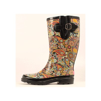 Blazin Roxx Paisley Round Toe Rain Boot - Ladies, Black/Multi