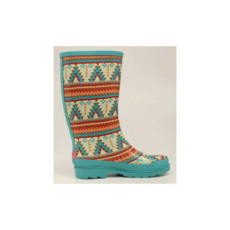 Blazin Roxx Dakota Southwest Round Toe Rain Boot - Ladies, Turquoise