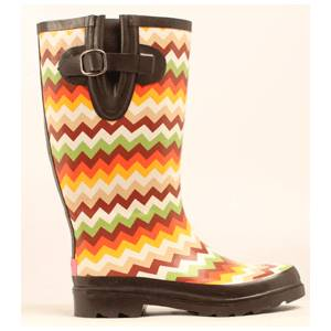 Blazin Roxx Leanne Chevron Round Toe Rain Boot - Ladies, Brown/Cream