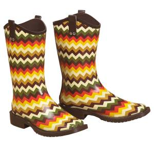 Blazin Roxx Clara Chevron Square Toe Rain Boot - Ladies, Yellow/Multi