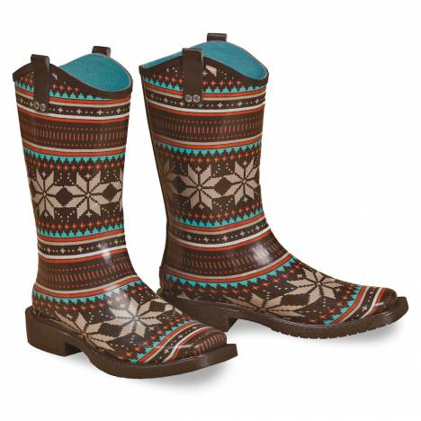 Blazin Roxx Scarlett Square Toe Rain Boot - Ladies, Black/Turquoise