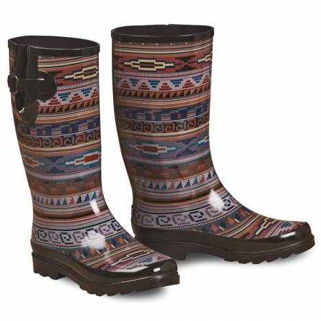 Blazin Roxx Perry Tribal Round Toe Rain Boot - Ladies, Brown/Multi