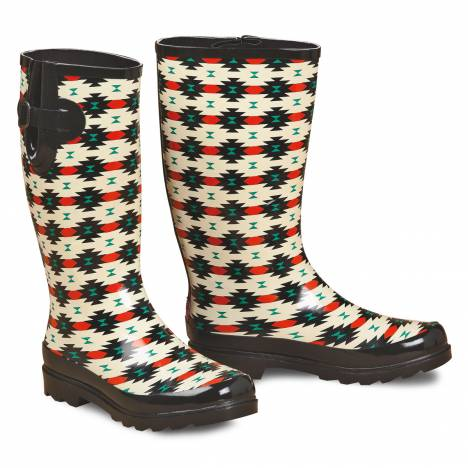 Blazin Roxx Hattie Tribal Round Toe Rain Boot - Ladies, Black/Red