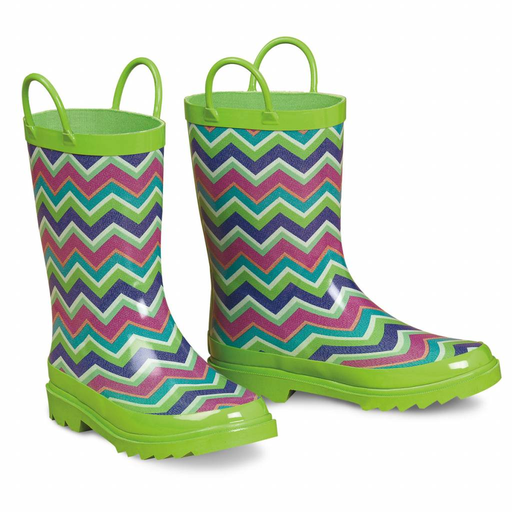 Blazin Roxx Charlsie Chevron Round Toe Rain Boot - Girls, Green