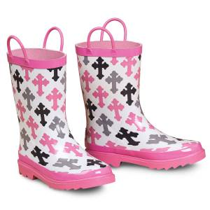 Blazin Roxx Christian Cross Round Toe Rain Boot - Girls, Pink