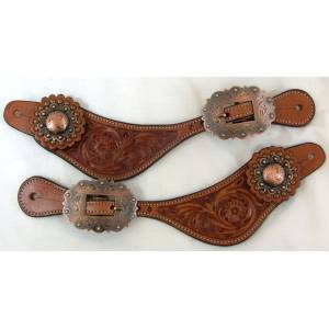 Intrepid Western Spur Strap- Fancy Floral Stamped Design with Concho