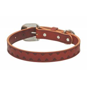 Weaver Chevron Hand Tooled Dog Collar