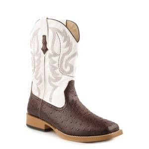 Roper Bumps Faux Ostrich Wide Square Toe Western Boot- Men's