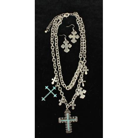 Blazin Roxx Double Chain Cross Jewelry Set