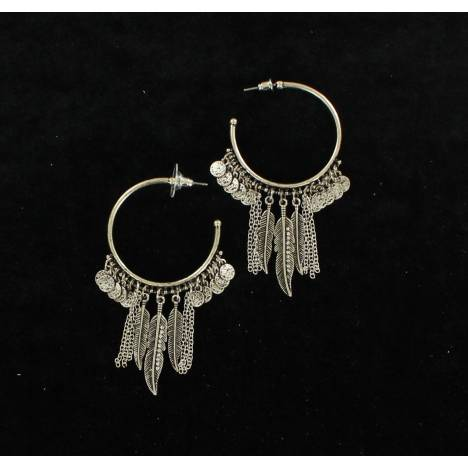 Blazin Roxx Fringe Feather Hoop Earrings