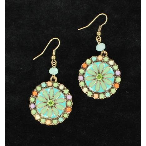 Blazin Roxx Large Round Flower Earrings