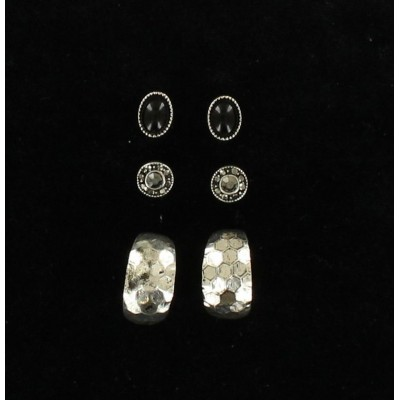 Blazin Roxx Trio Oval Stud Hoop Earrings