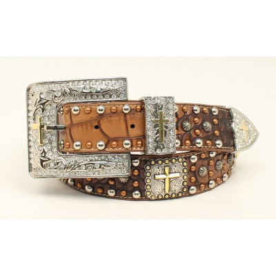 Ariat Croc Cross Concho Western Belt with 3 Piece Buckle- Ladies