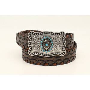 Ariat Lace Edge Stamped Belt with Rectangle Buckle- Ladies