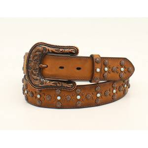 Ariat Floral Dot Western Belt And Buckle- Ladies