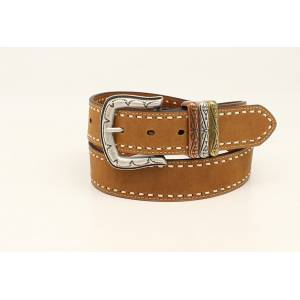 Ariat Stitched Edge Belt With Stamped Buckle And Holder- Ladies