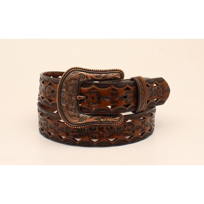 Ariat Leather Pattern Belt And Buckle- Ladies