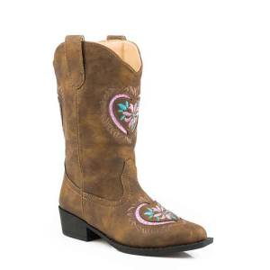 Roper Daisy Heart Snip Toe Western Boot- Girl's
