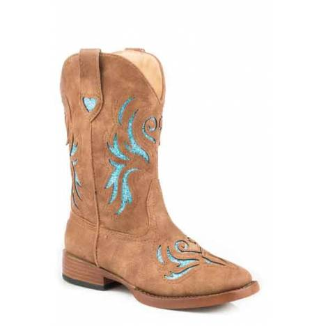 Roper Glitter Breeze Wide Square Toe Western Boot- Girl's