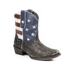 Roper American Beauty Flag Snip Toe Ankle Boot- Ladies