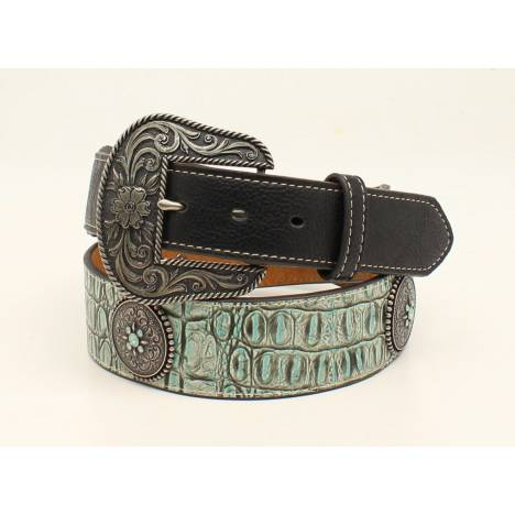 Nocona Round Concho Tapered Croc Belt And Buckle- Ladies