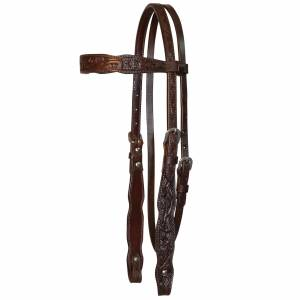 Circle Y Shaped Browband Floral Headstall