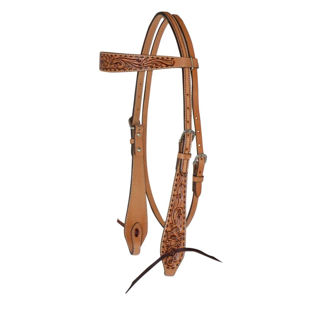 Circle Y Buckstitch Floral Tie End Browband Headstall