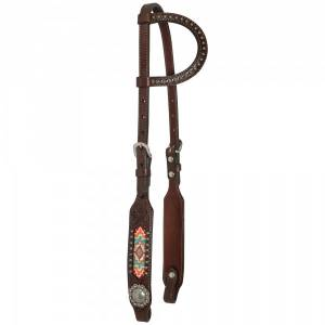 Circle Y One Ear Bead Inlay Floral Concho Headstall
