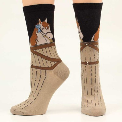 Ariat Ribbon Horsehead Crew Sock - Ladies