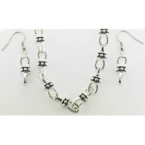 Western Edge Beaded Horseshoe Chain Necklace and Earring Set