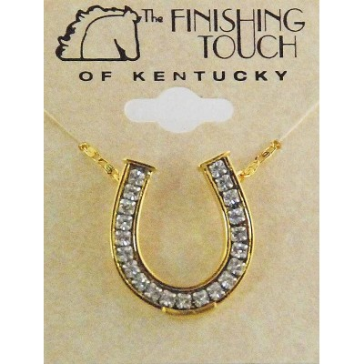 Western Edge Channel Set Crystal Stones Horseshoe Gold Plated Necklace