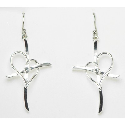 Western Edge Cross My Heart Crystal Stone Earrings