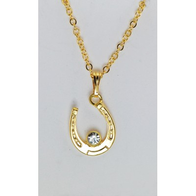 Western Edge Crystal Stone Accent Horseshoe Gold Plated Necklace