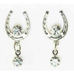 Western Edge Crystal Dangle Horseshoe Earrings